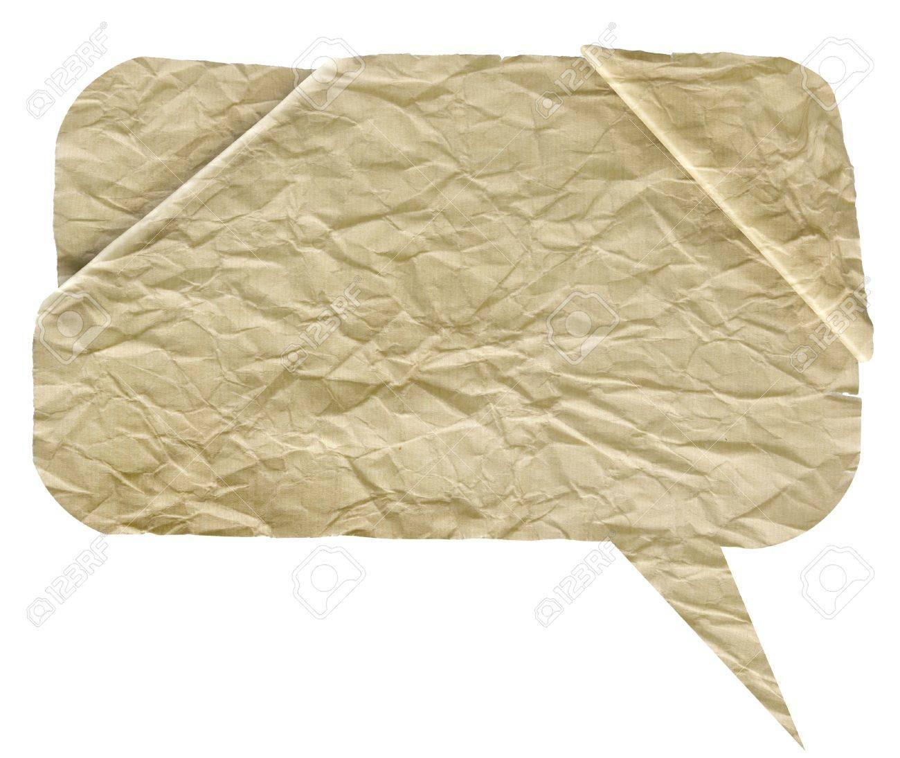 crumpled high detail Paper speech bubbles over white Standard-Bild - 9686714