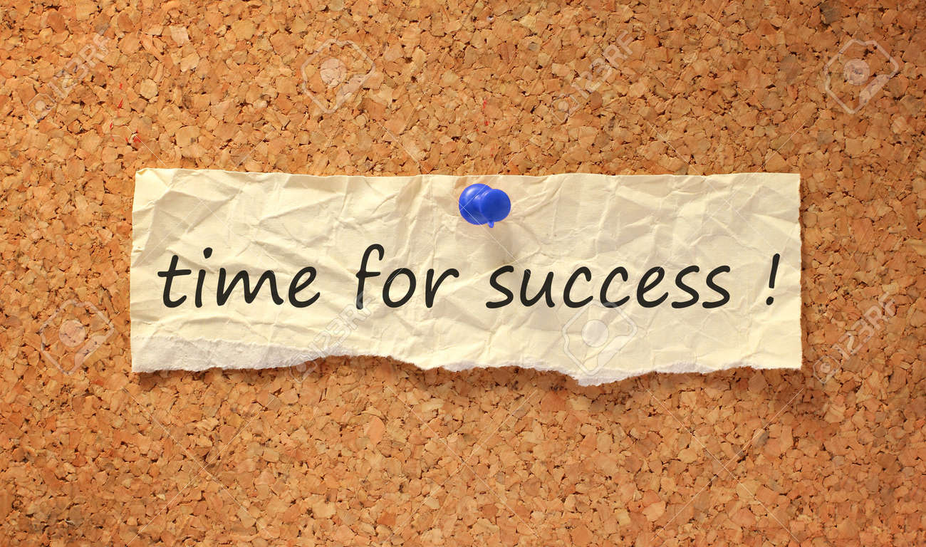 time for success sign on corkboard attached with thumbtack Standard-Bild - 9848816