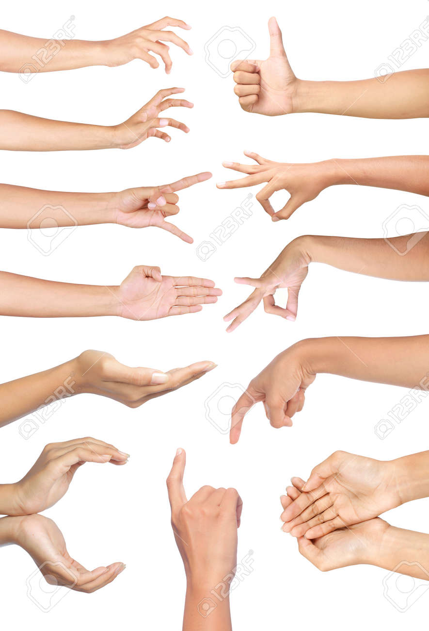 Set of many different hands gesture over white background Standard-Bild - 9848824