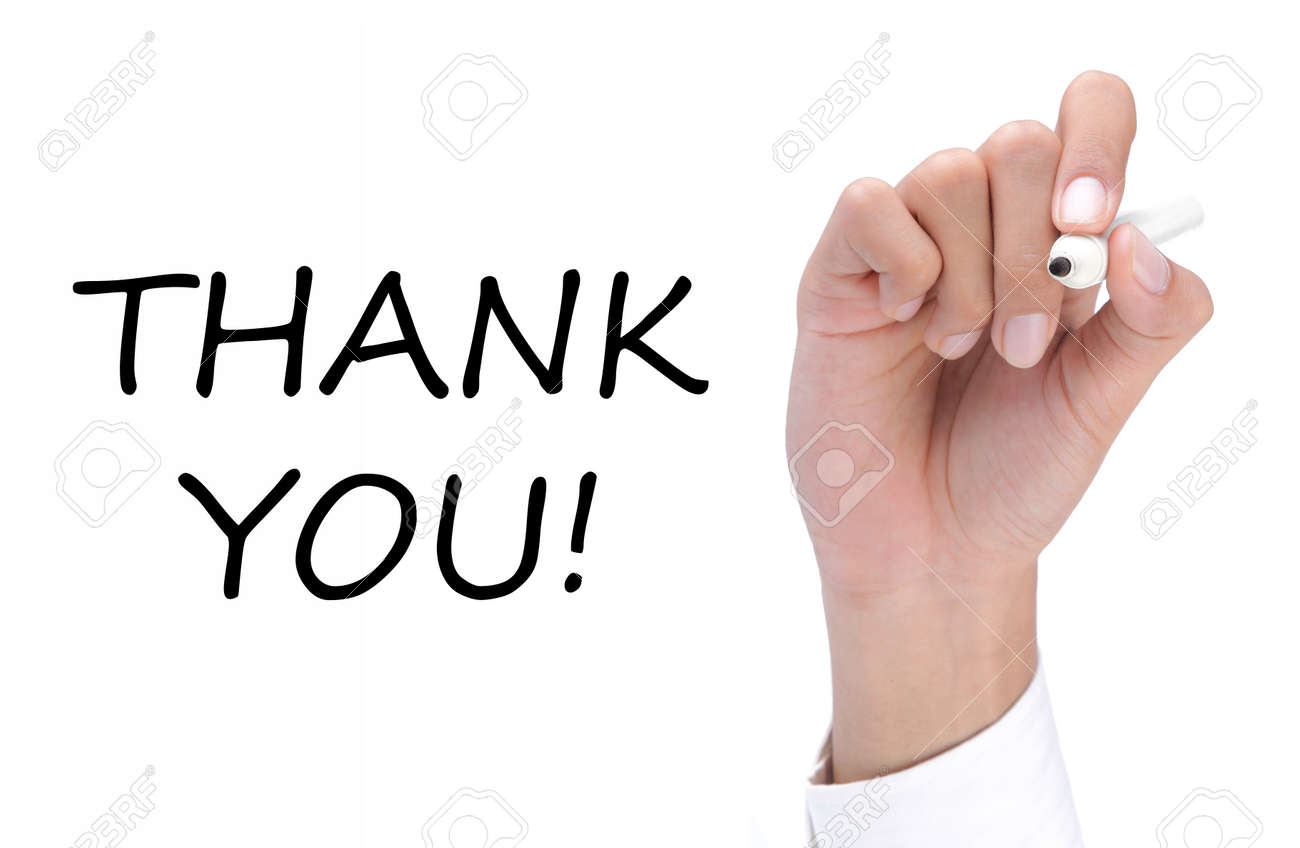 hand writing thank you on white Standard-Bild - 9899694