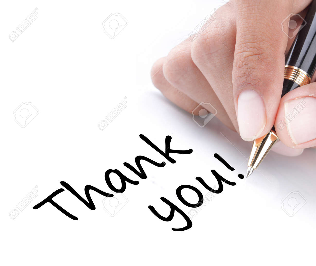Hand Writing Thank You Isolated On White Background Stock Photo