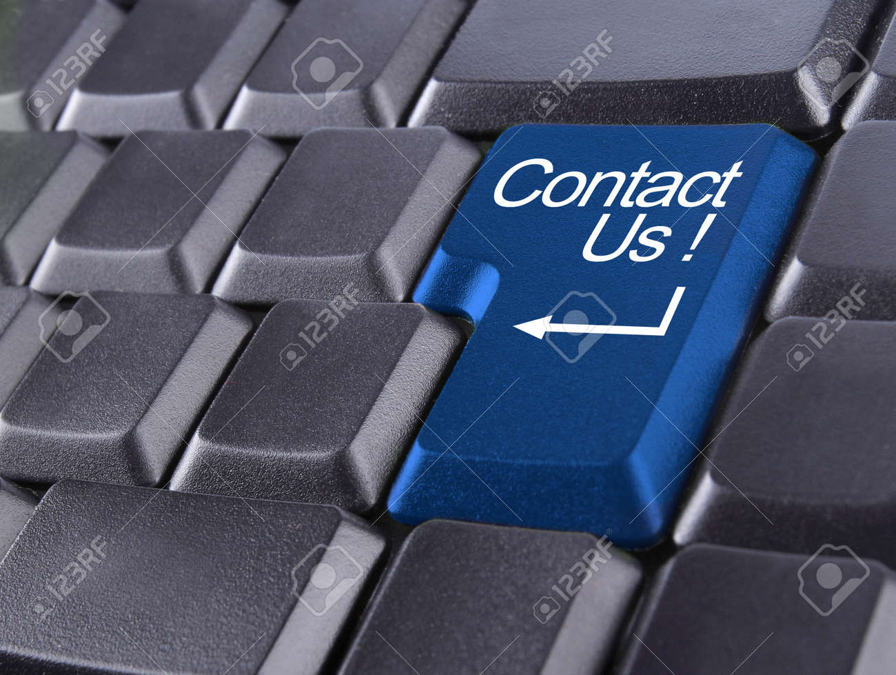 contact us or support concept with computer keyboard button Standard-Bild - 10183982