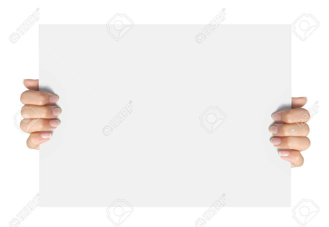 Advertising. hand hold on a paper ready for your design Standard-Bild - 10693130