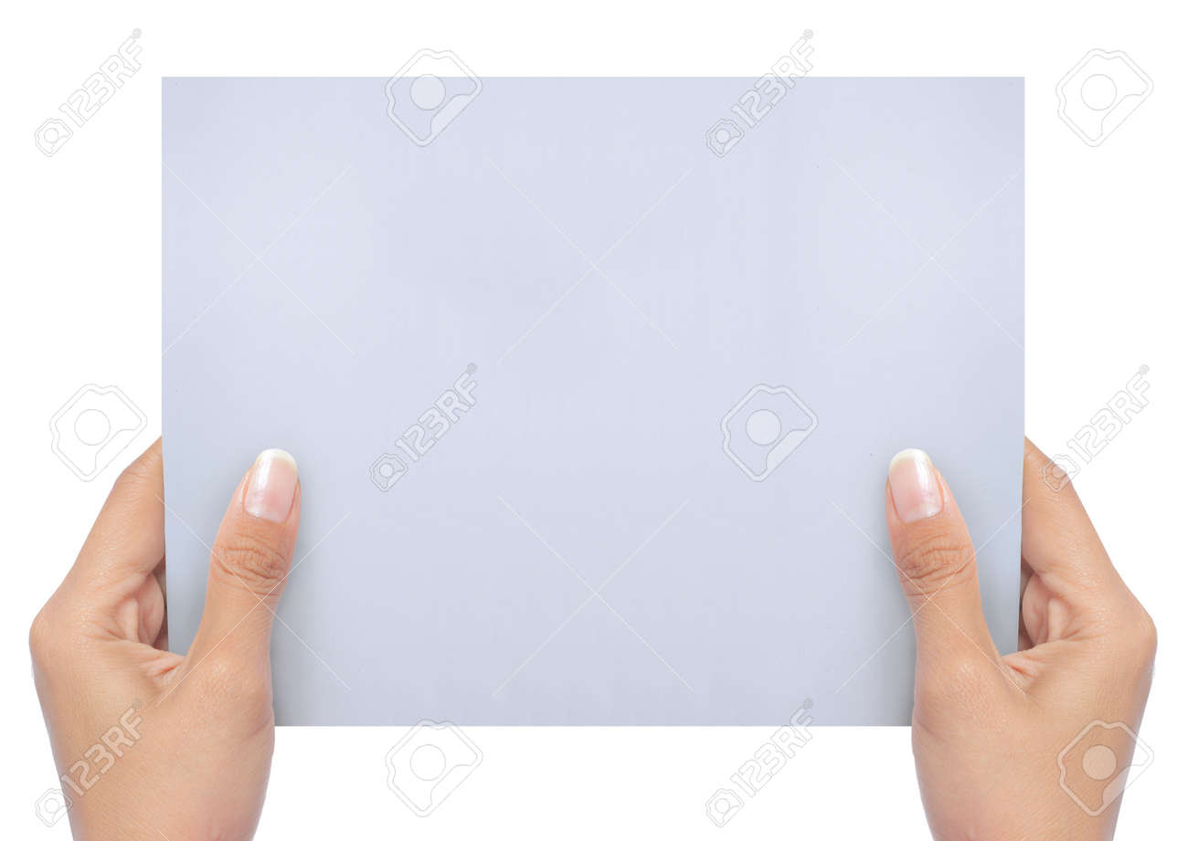 hand holding a blank white paper isolated on white. ready for your ad Standard-Bild - 11154454