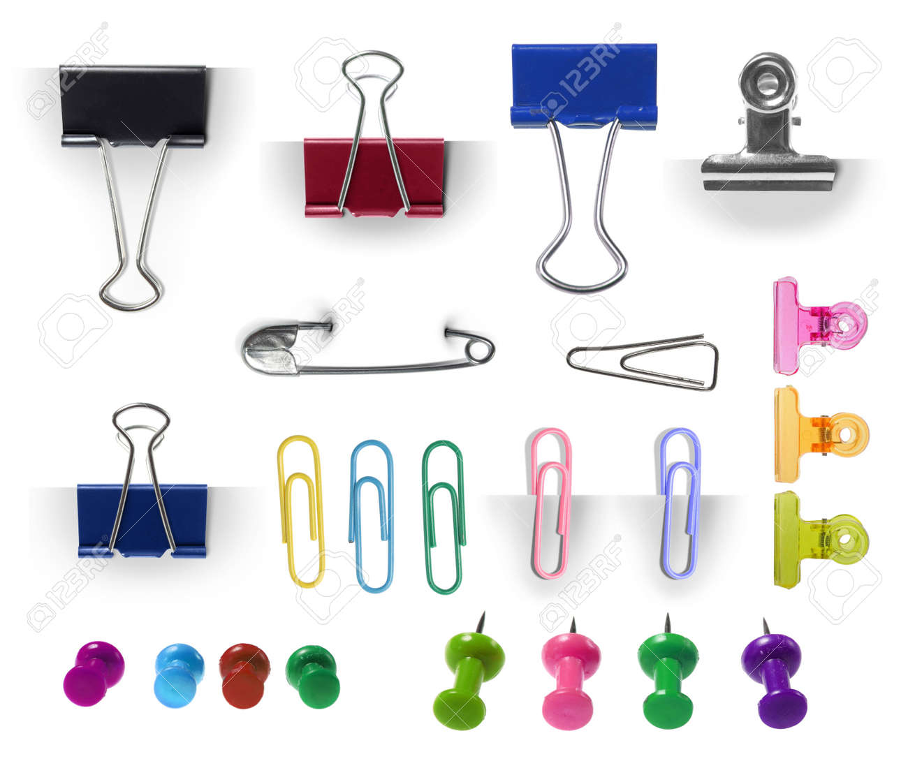 collection of paper clip, pin and thumbtack isolated over white background. each one shot separately. ready for your design Standard-Bild - 11154465