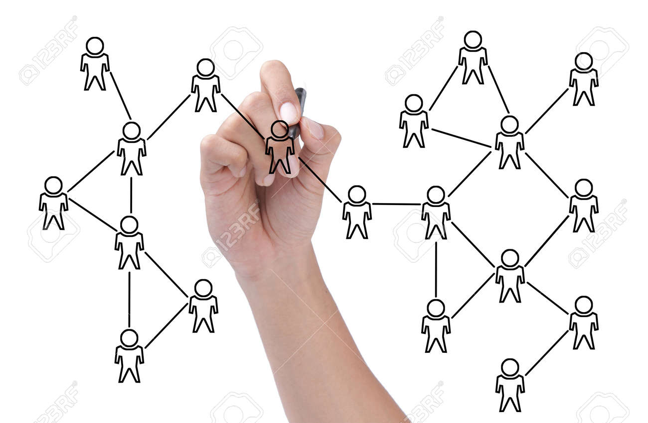 hand drawing a social network scheme isolated over white background Standard-Bild - 11772424