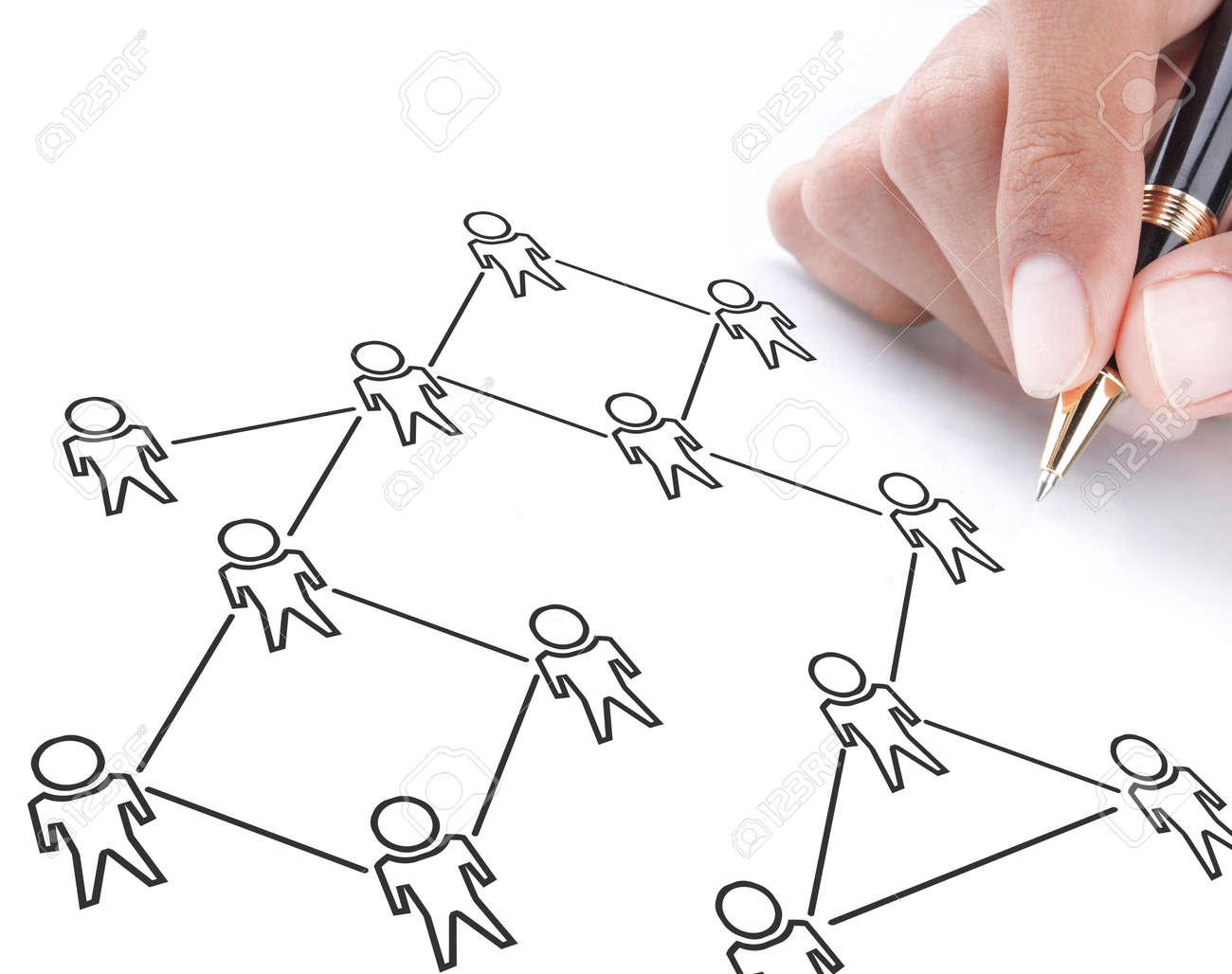 social networking concept drawn on white board Standard-Bild - 11772425