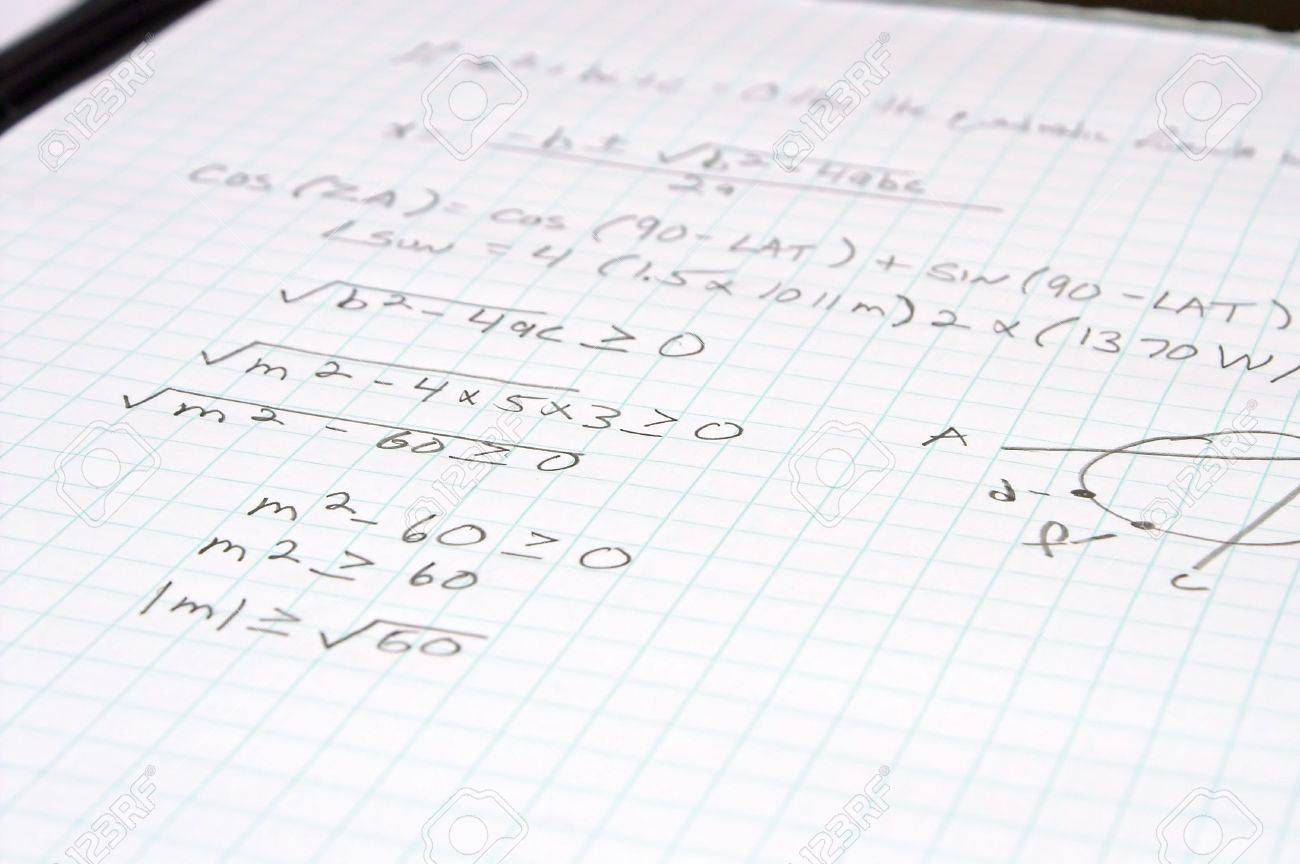 An Algebra Mathematic Problem On A Sheet Of Graph Paper Stock Photo