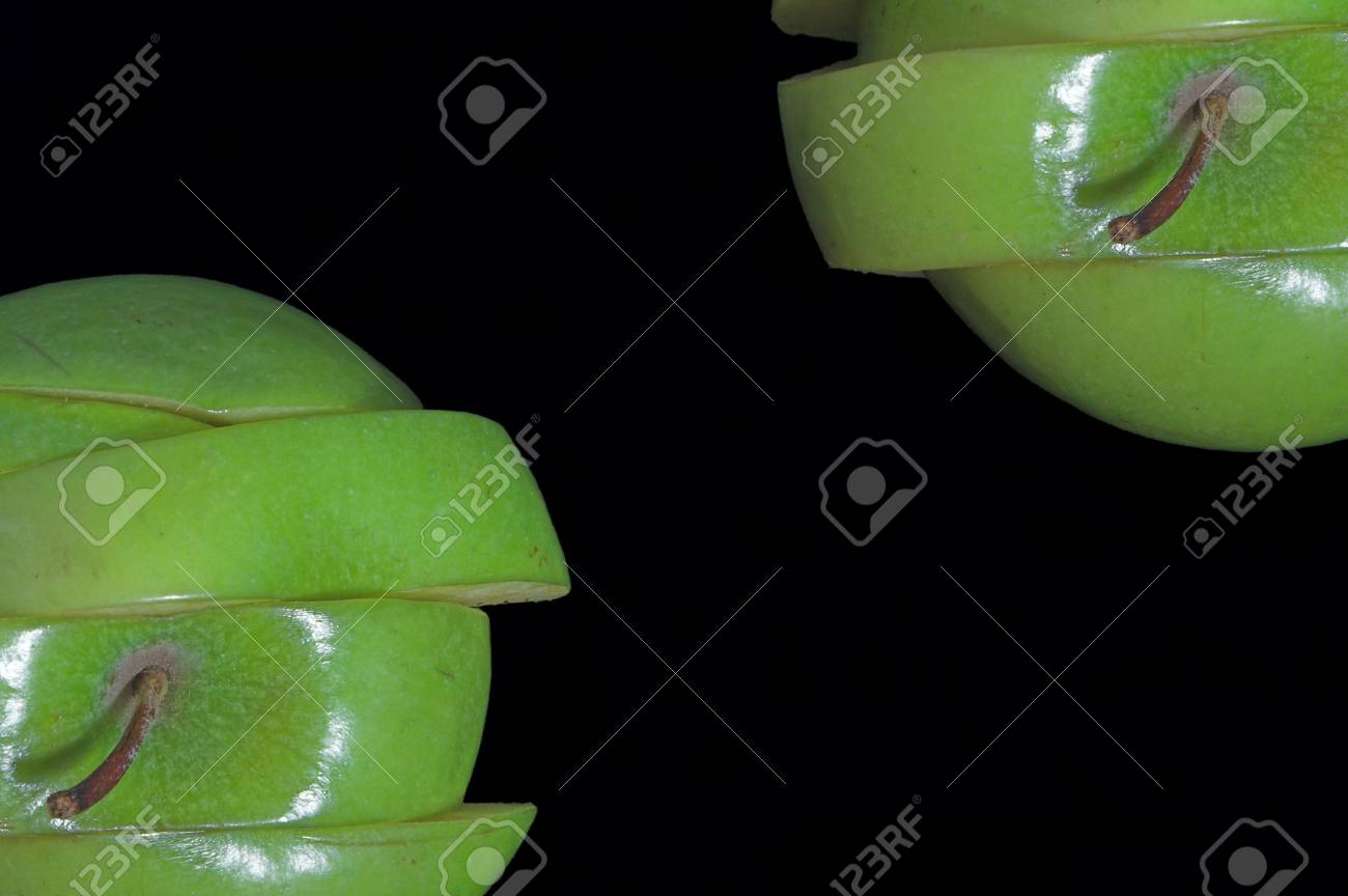 A sliced green apple in a stack. Stock Photo - 1343146