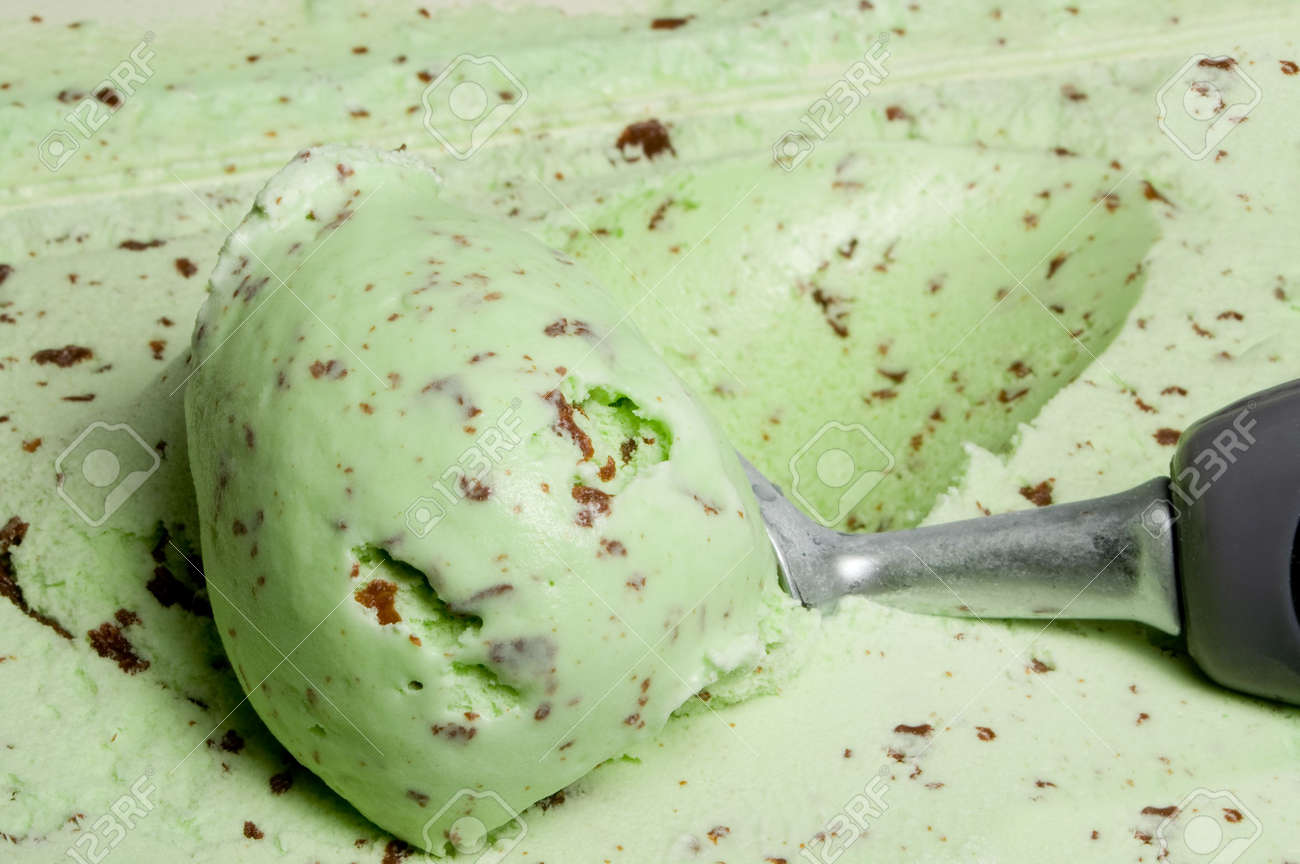 A Big Scoop Of Mint Chocolate Chip Ice Cream. Stock Photo, Picture ...