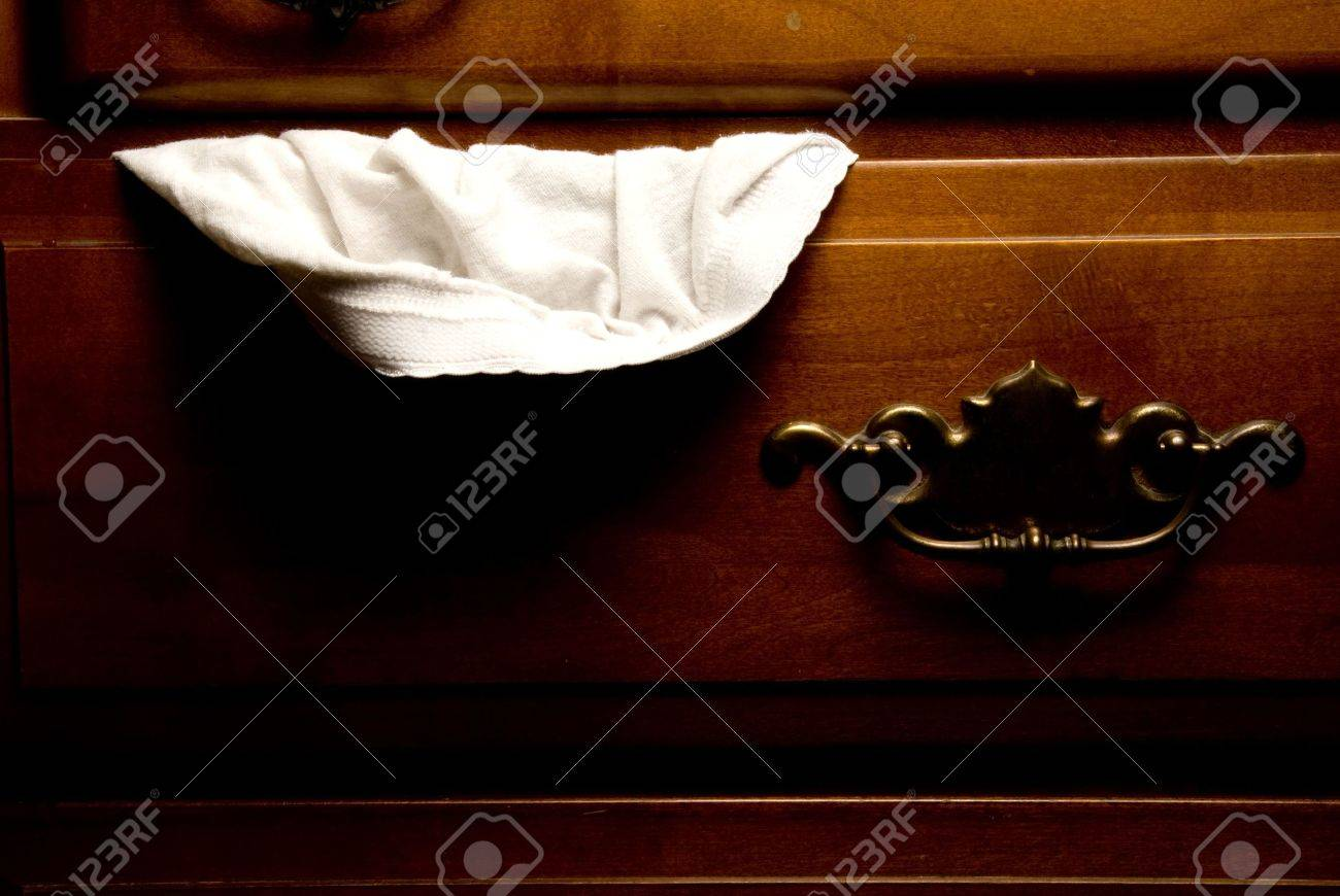 A pair of panties hanging out of a drawer. Stock Photo - 3667836