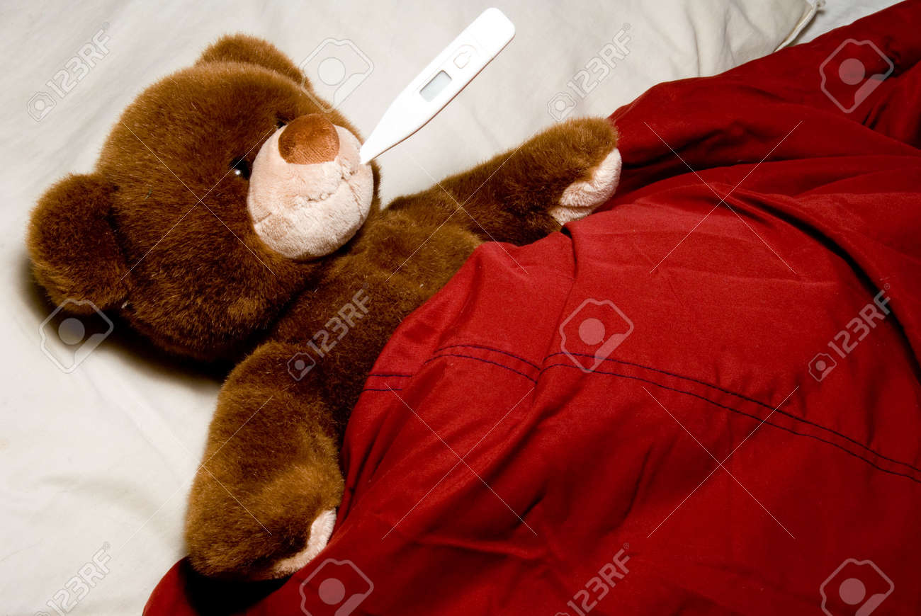a sick teddy bear taking its temperature stock photo picture and