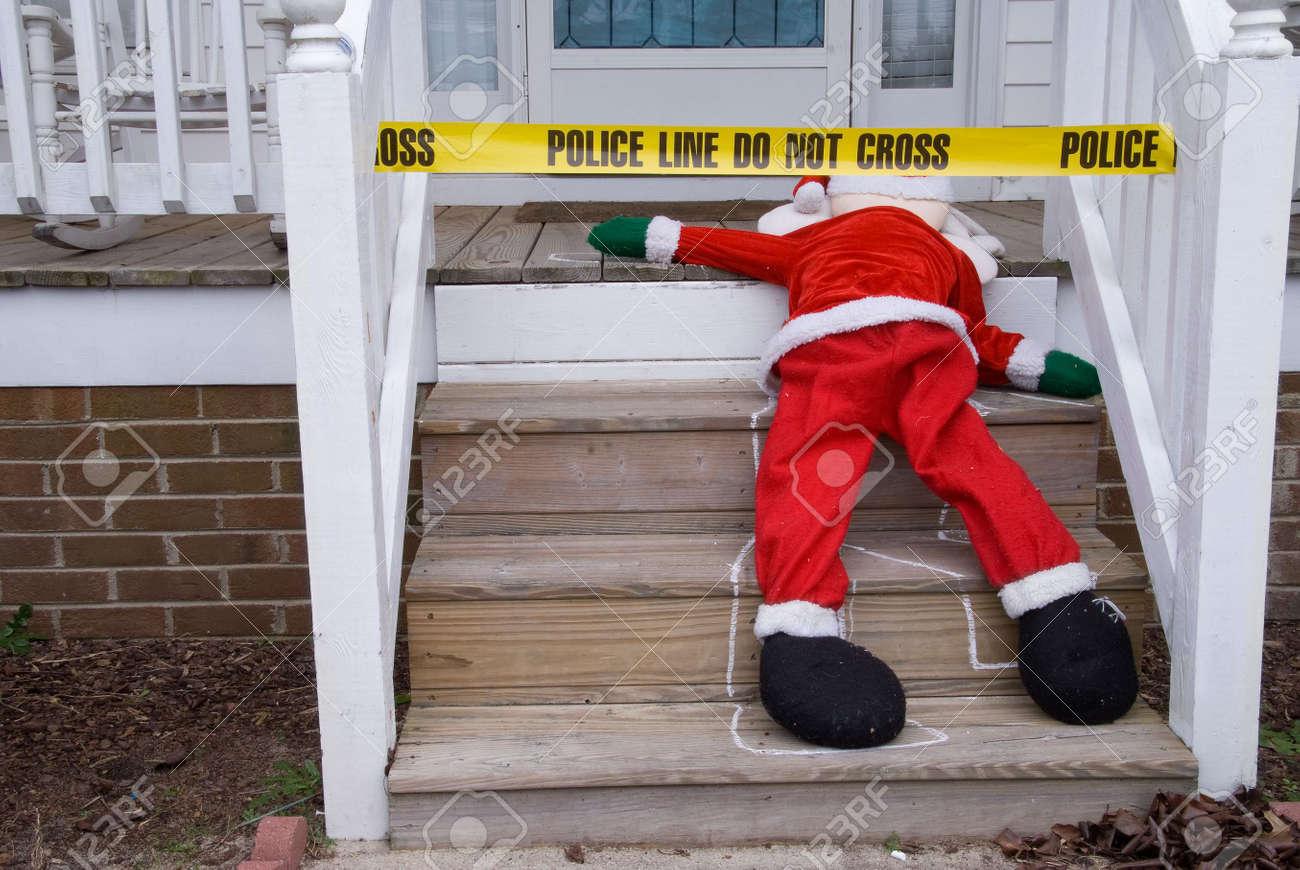 The body of Santa Claus at a crime scene. Stock Photo - 6083100