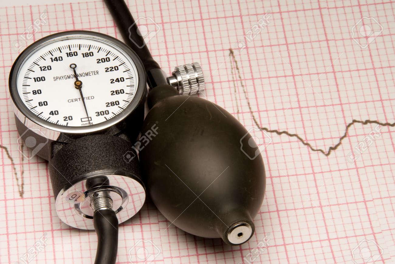 A Sphygmonanometer on top of a EKG readout. Stock Photo - 6157724