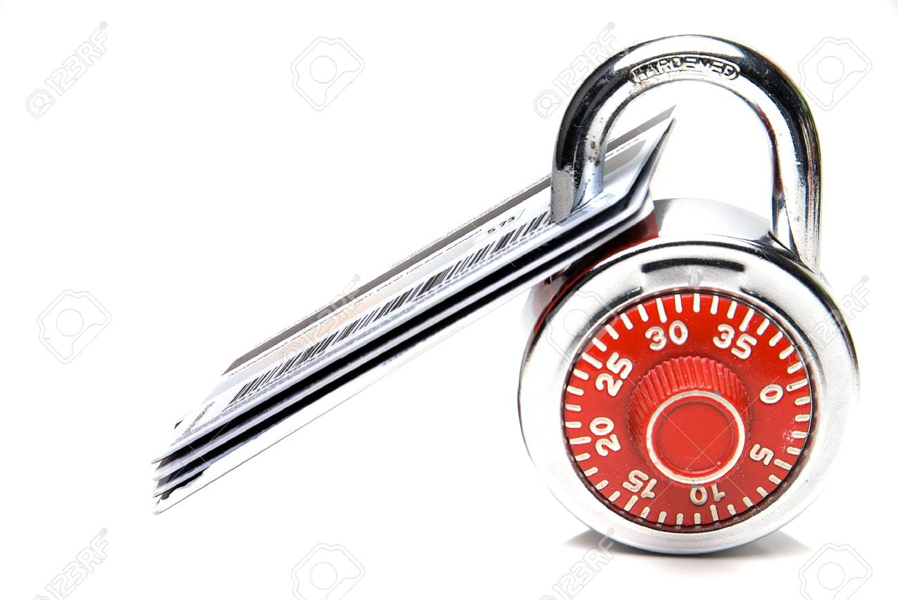Credit Cards Secured with a Padlock Stock Photo - 6245418
