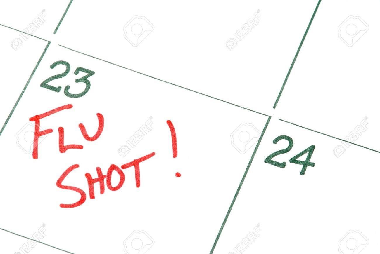 A calendar reminder for a Flu Shot Stock Photo - 6372853