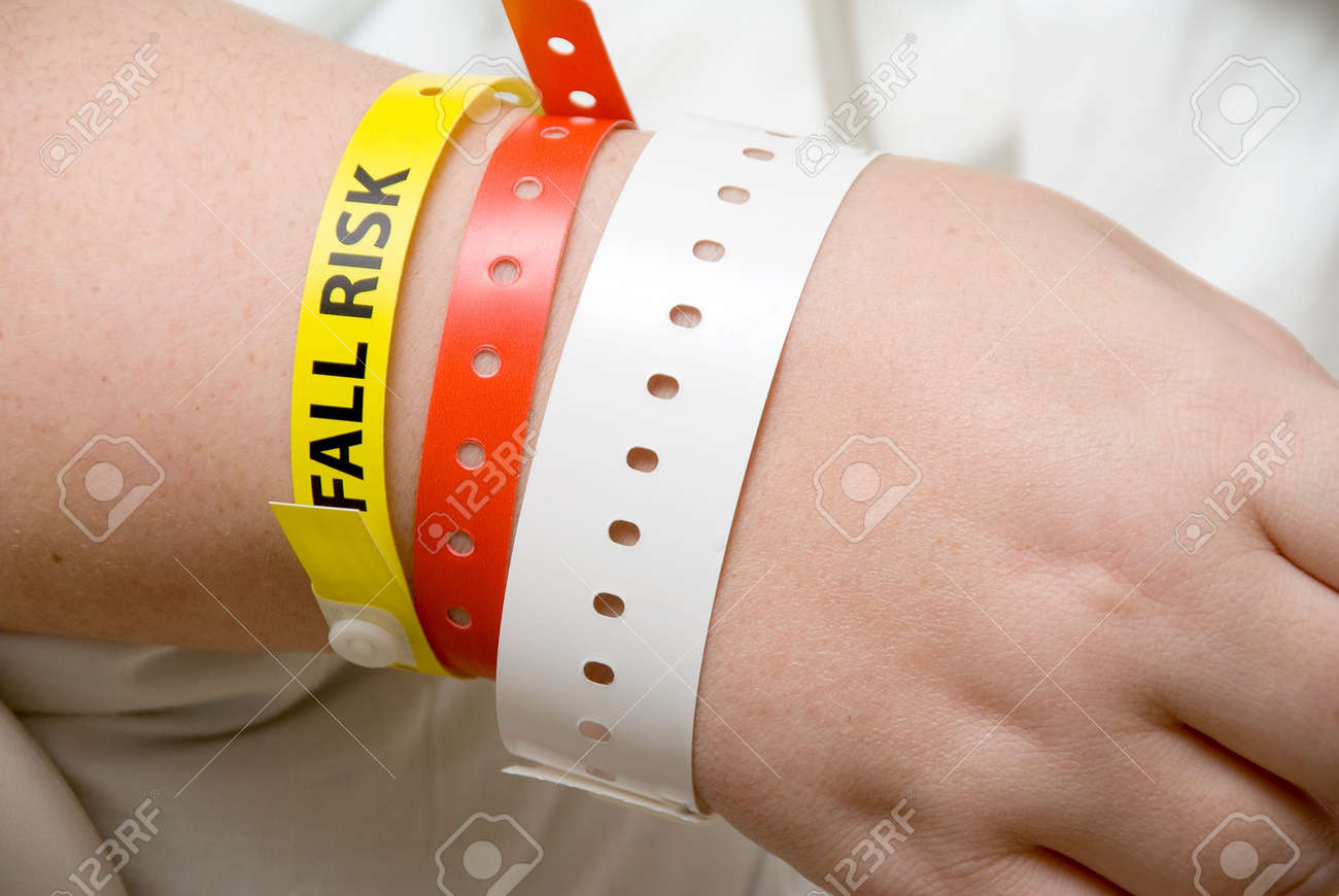 A Fall Risk Bracelet on the arm of a patient Stock Photo - 6417549