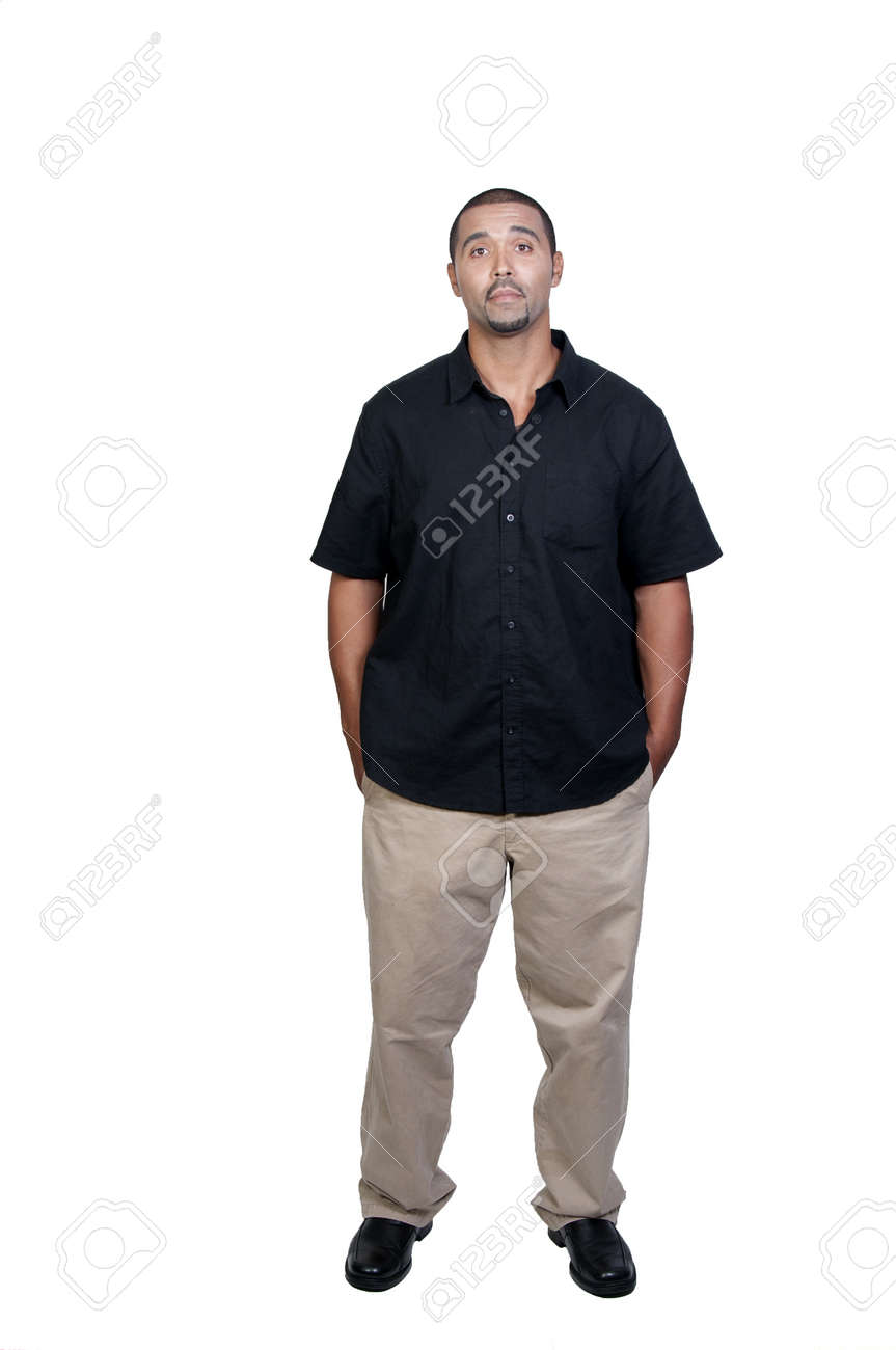 An attractive handsome African American man standing Stock Photo - 7759639