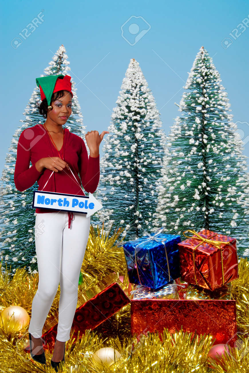 a beautiful black woman elf holding a north pole sign Stock Photo - 8306425