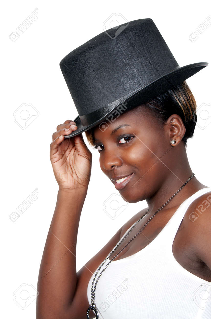 A beautiful young actress dancer wearing a top hat Stock Photo - 8672544