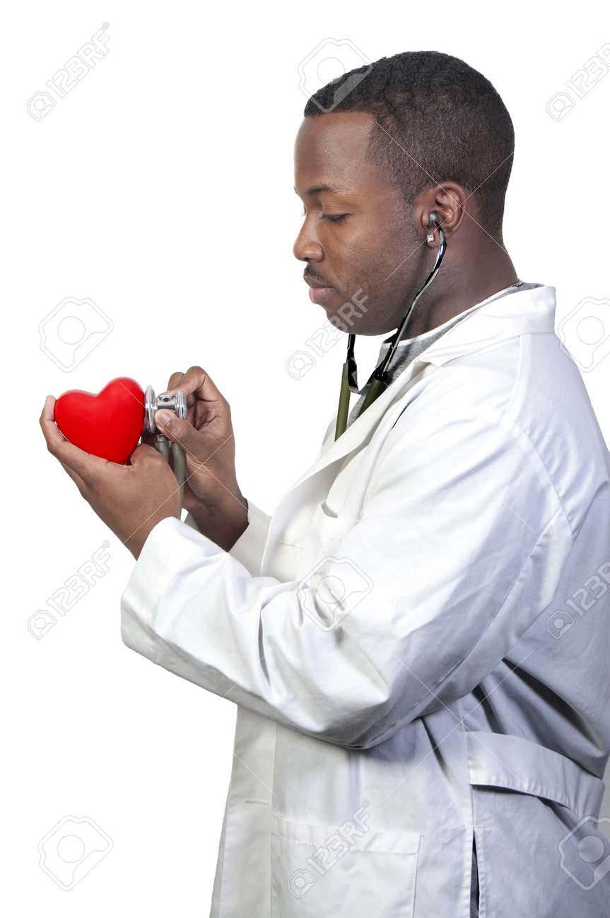 A black male African American doctor cardiologist holding a red heart Stock Photo - 8672891