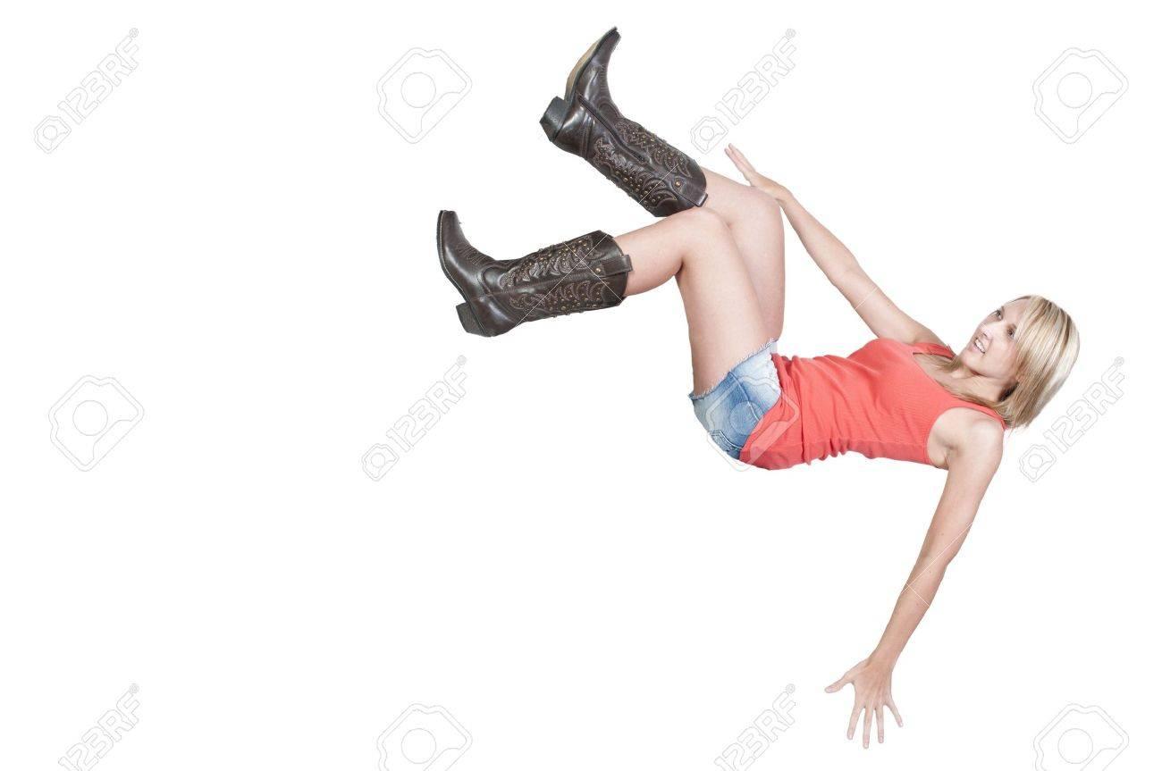 A beautiful young woman falling through the sky Stock Photo - 10196359