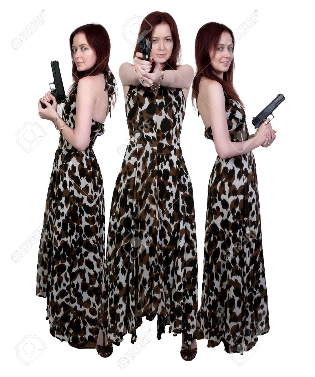 A beautiful police detective woman on the job with a gun Stock Photo - 10255063