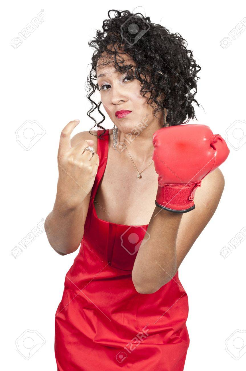 A beautiful young woman wearing a  boxing glove while motioning to come here Stock Photo - 11171638
