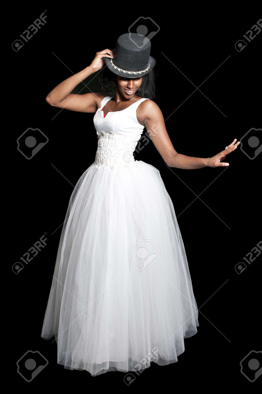 Black African American Woman Bride in a wedding dress and top hat Stock  Photo - 12100927 cefe30c80db