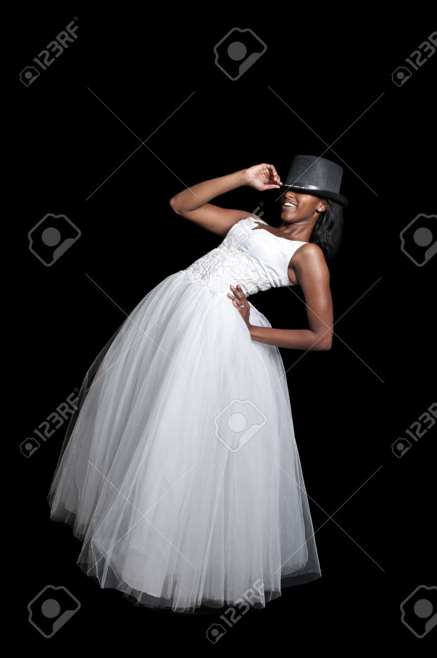 Black African American Woman Bride in a wedding dress in a top hat Stock  Photo - cb2864a78ff
