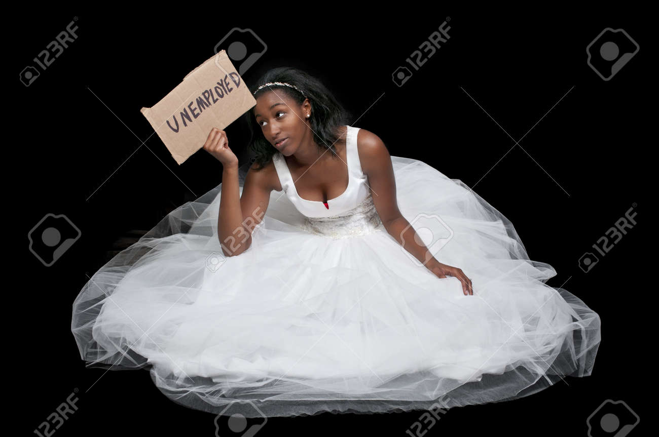 Unemployed Black African American Woman Bride In A Wedding Dress