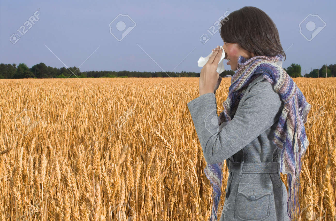 A beautiful woman with a cold, hay fever or allergies blowing her nose Stock Photo - 12101525