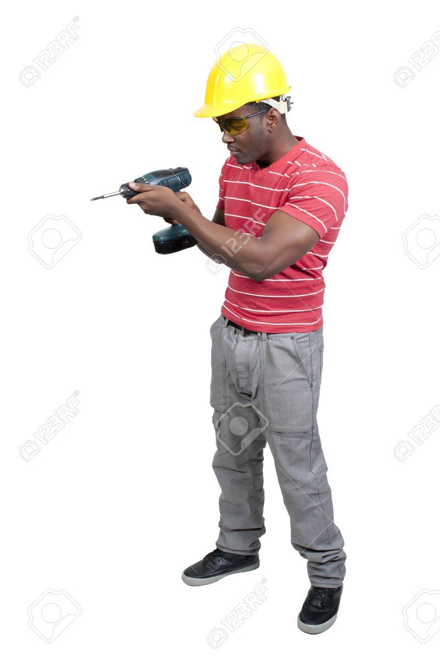 A black African American man Construction Worker on a job site Stock Photo - 12314337