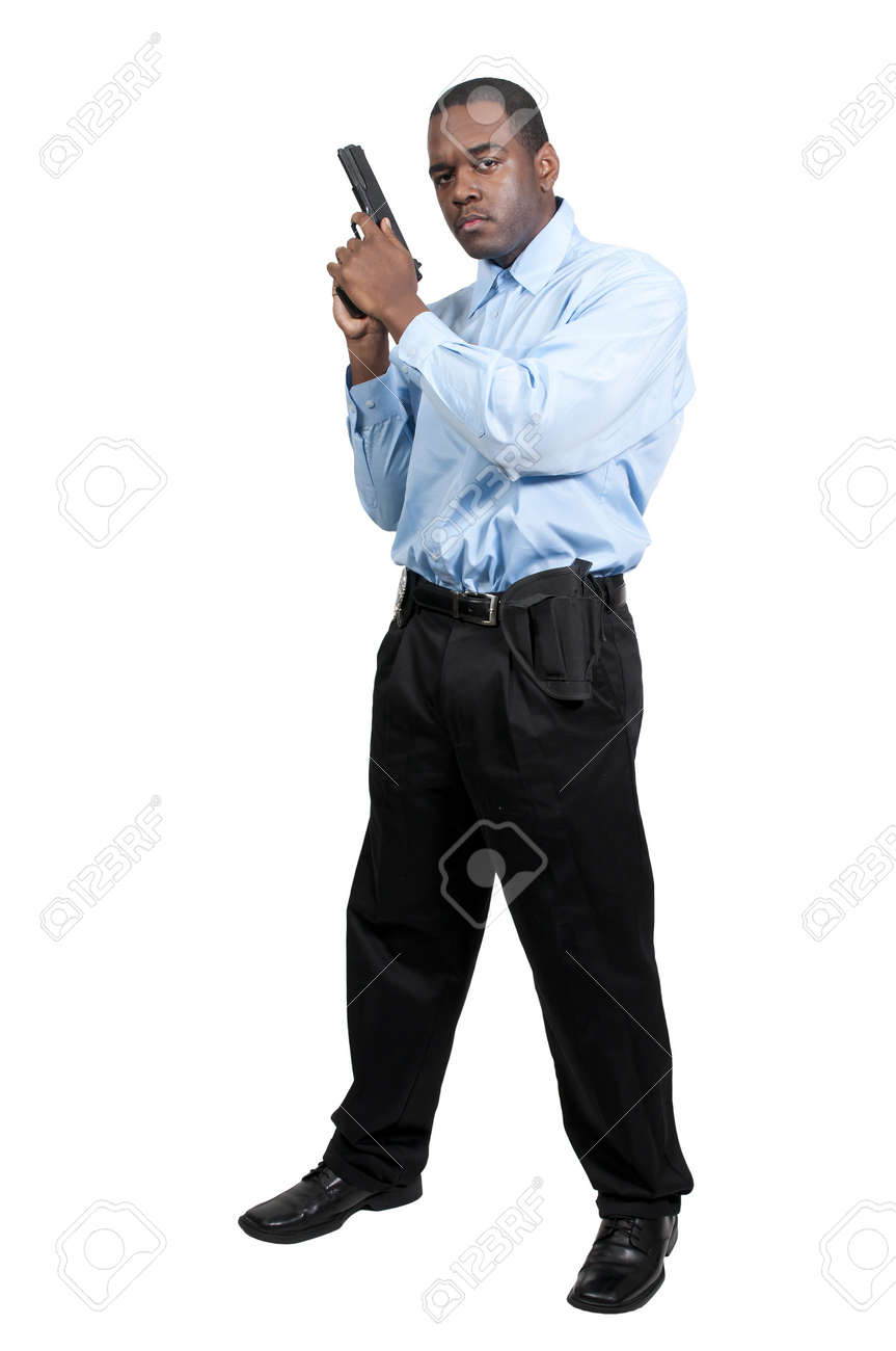 A black African American police detective man on the job with a gun Stock Photo - 12314149