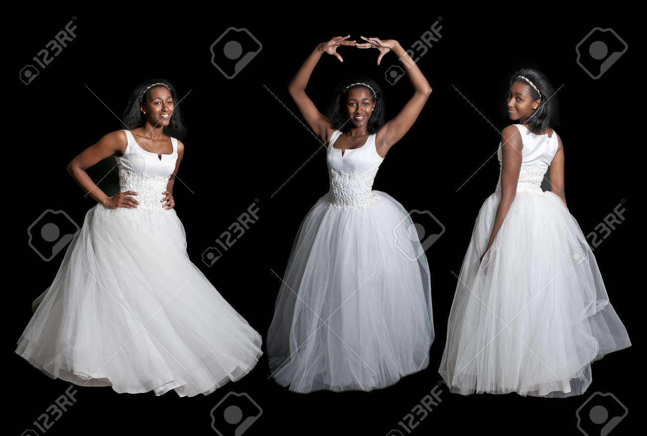 Black African American Woman Bride In A Wedding Dress Stock Photo