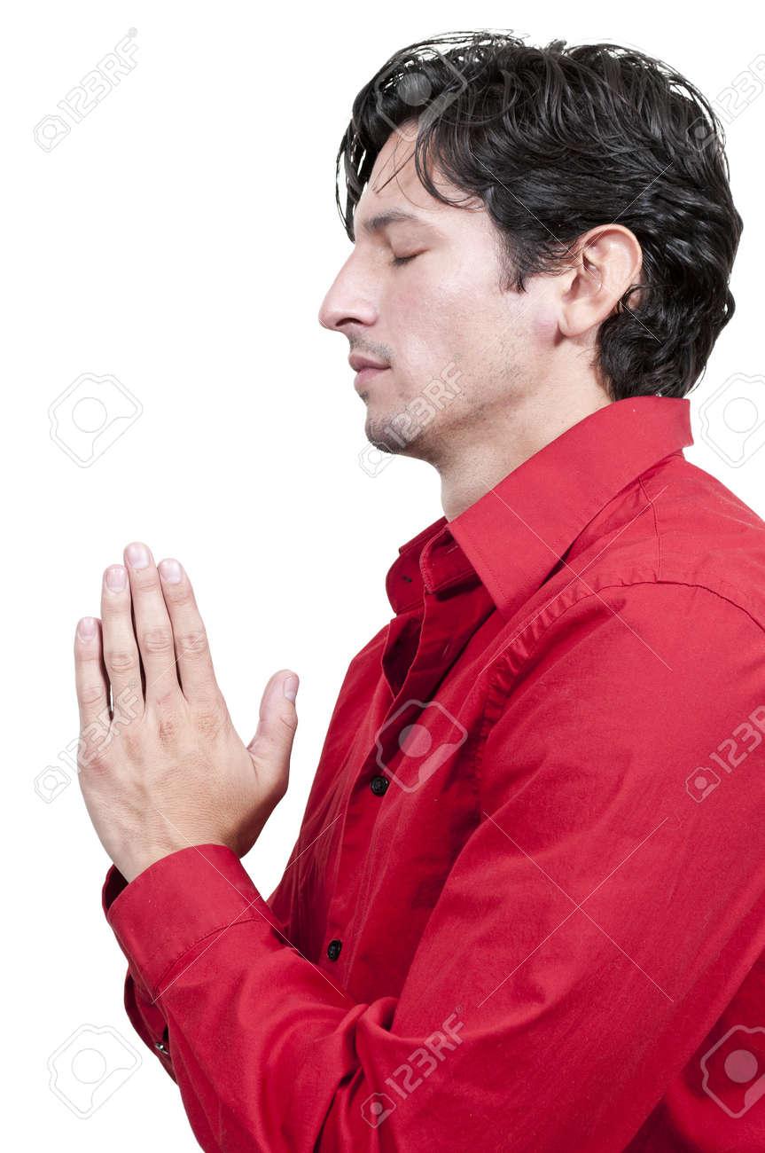Handsome Christian man in a deep prayer Stock Photo - 14879967