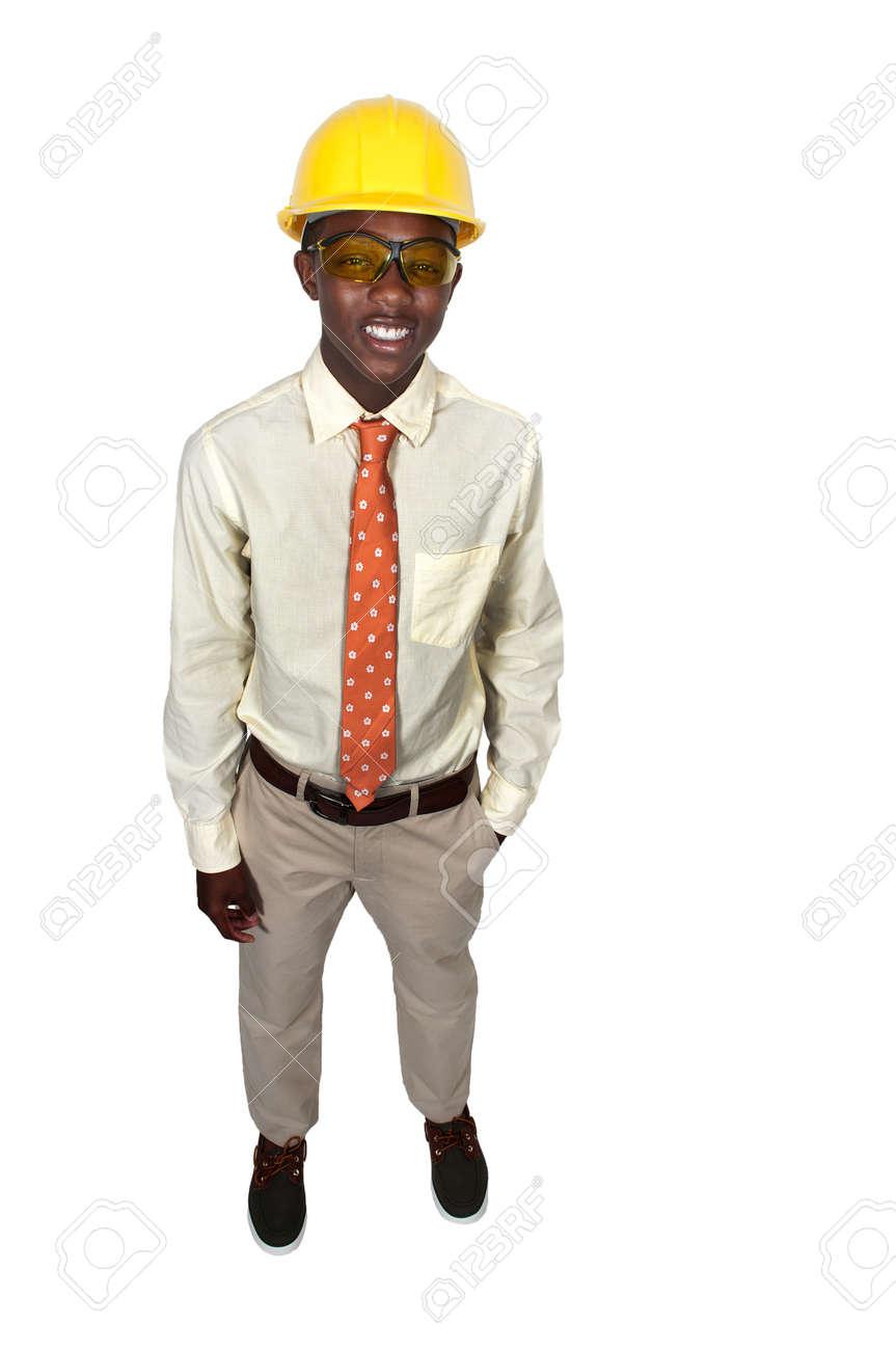 black african american teenage man construction worker on a job black african american teenage man construction worker on a job site stock photo 15113295