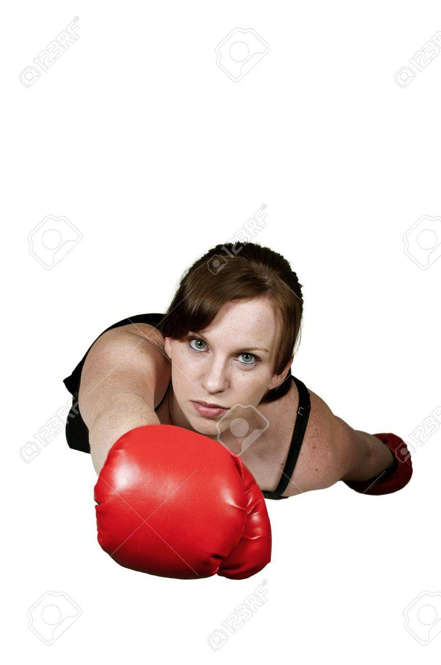 Beautiful woman super hero flying through the sky with boxing gloves Stock Photo - 15113224