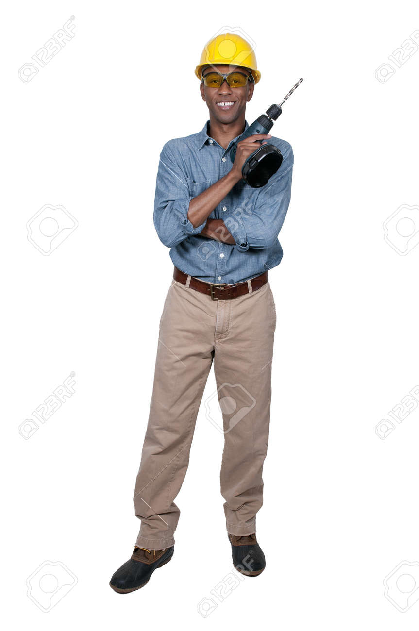 A black man African American Construction Worker on a job site. Stock Photo - 15646625