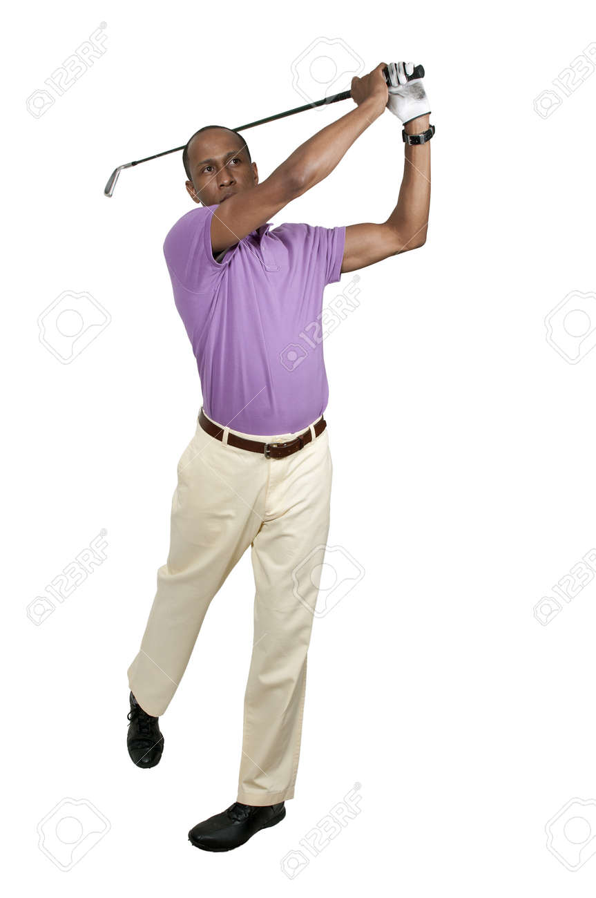 Handsome man playing a round of the sport known as golf Stock Photo - 15646652