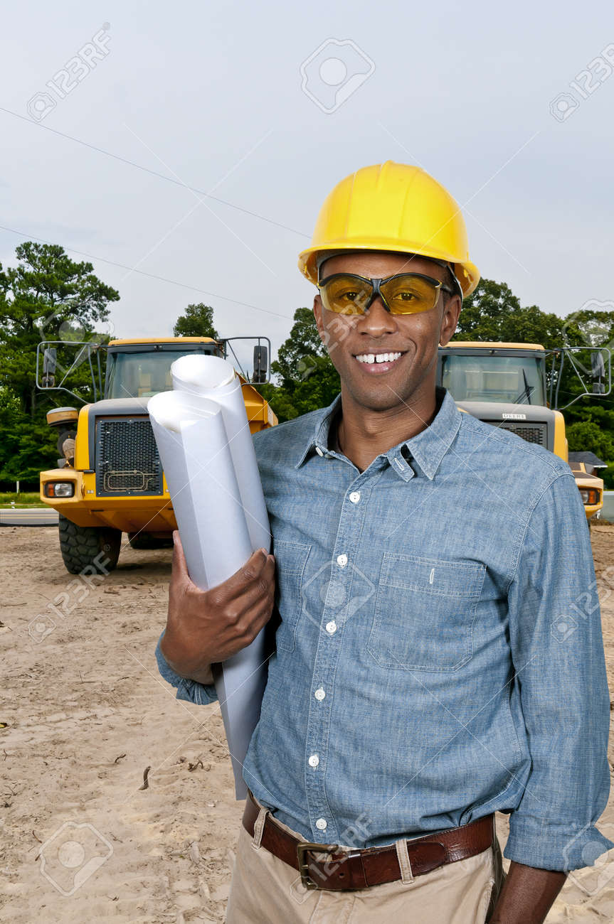 black african american male construction worker a job site stock black african american male construction worker a job site stock photo 15646852