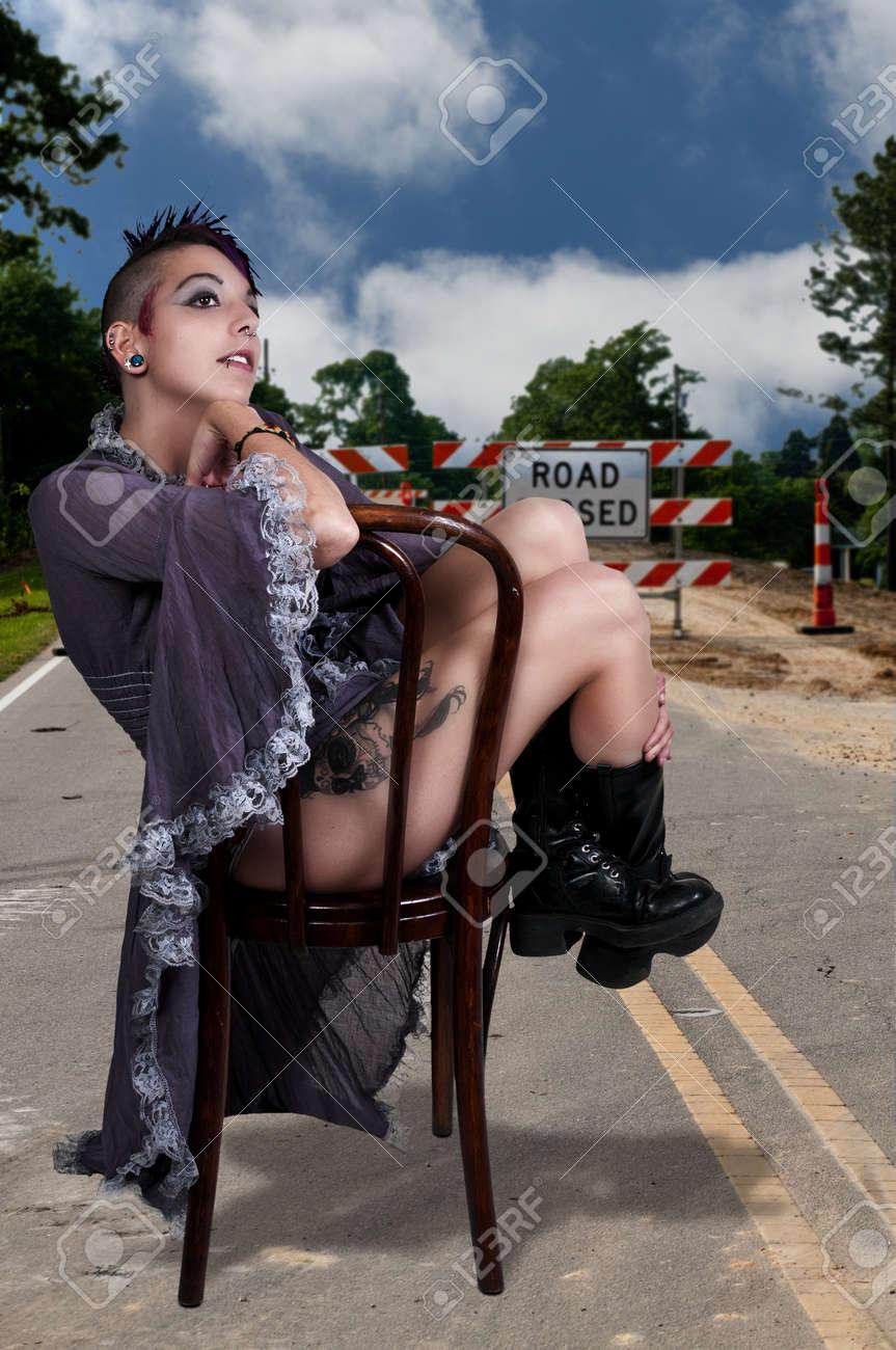 Beautiful young punk rock alternative lifestyle woman Stock Photo - 17425818