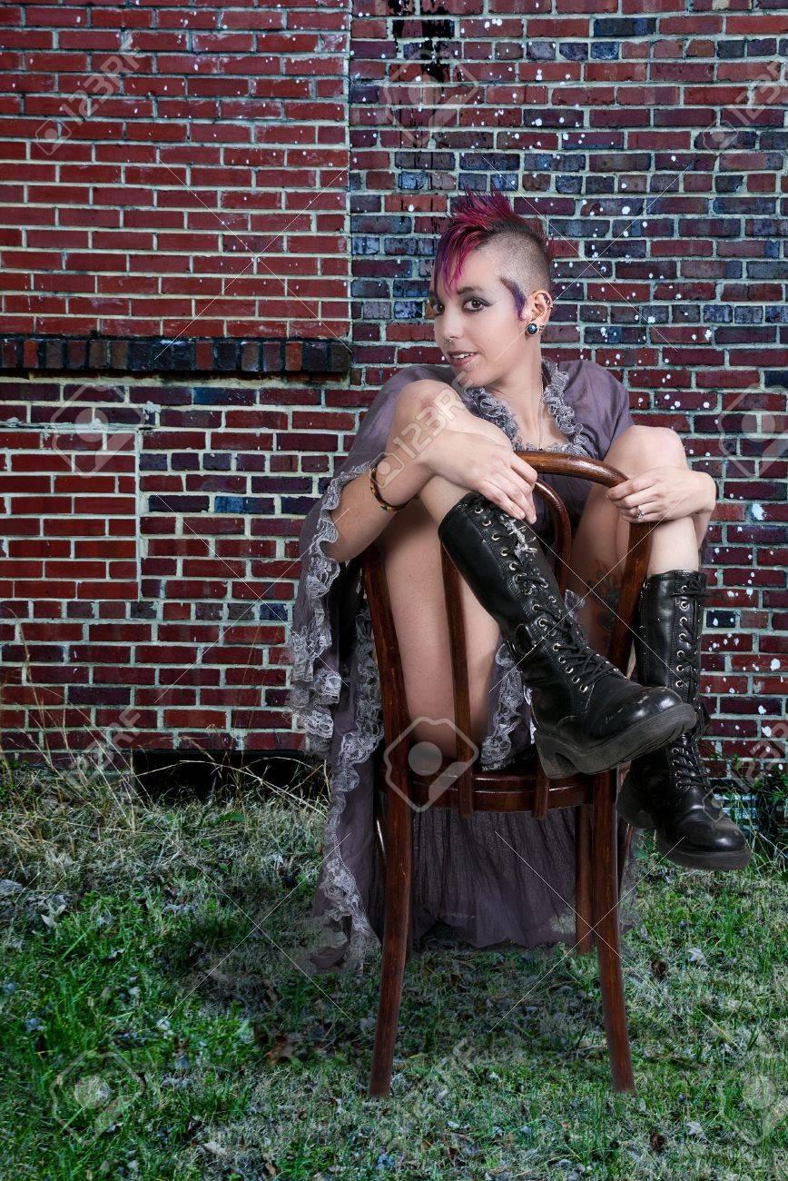 Beautiful young punk rock alternative lifestyle woman Stock Photo - 17426074