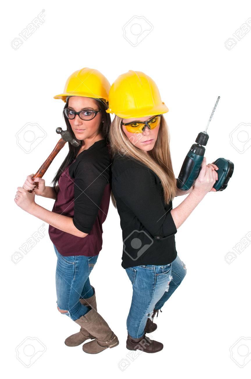 Un Trabajador De Construcción Femenina Con Un Casco Y Gafas De ...