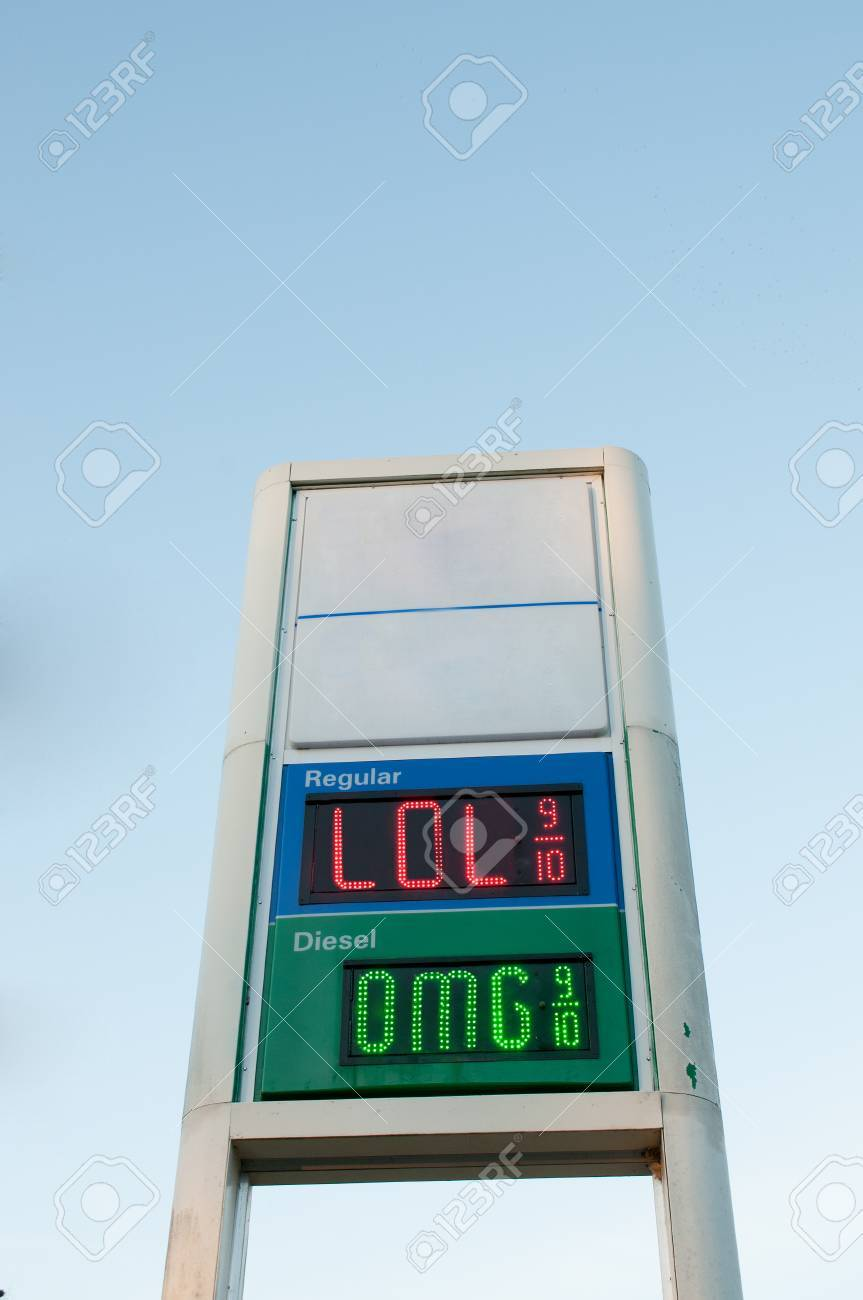 Charming Sign Outside Of A Gas Station Convenience Store That Displays Gasoline  Prices Stock Photo   34485386