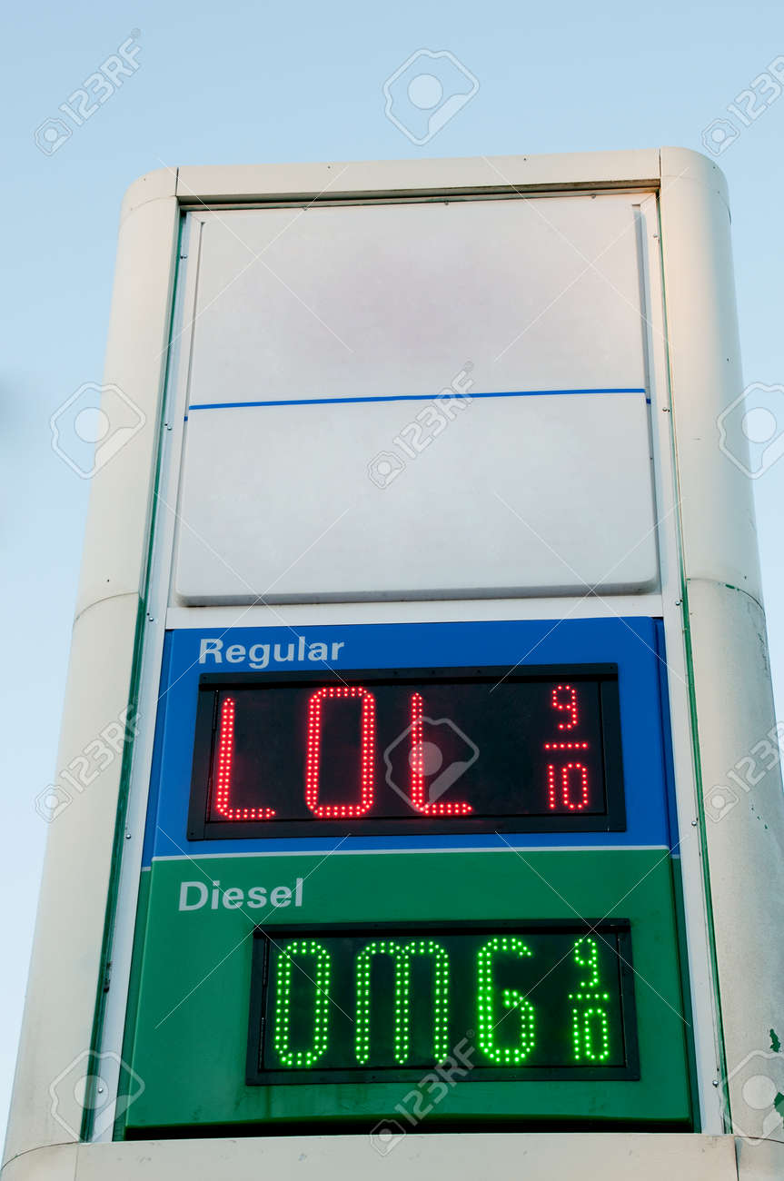 Sign Outside Of A Gas Station Convenience Store That Displays Gasoline  Prices Stock Photo   34435210