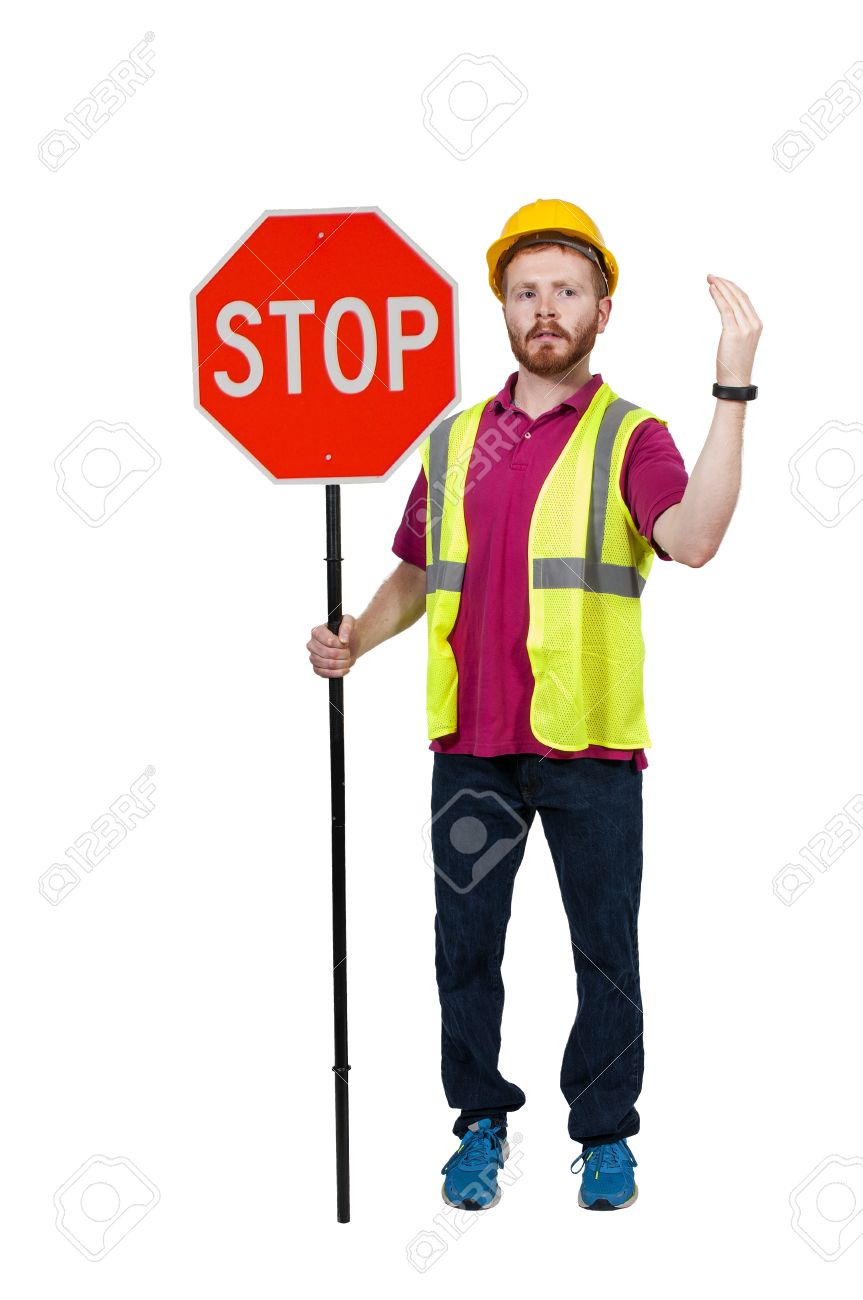 Man Flagman Holding A Stop Sig...
