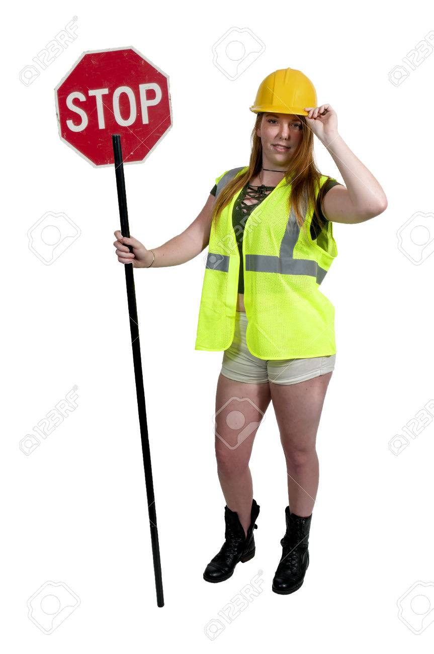Woman Flagman Holding A Stop S...
