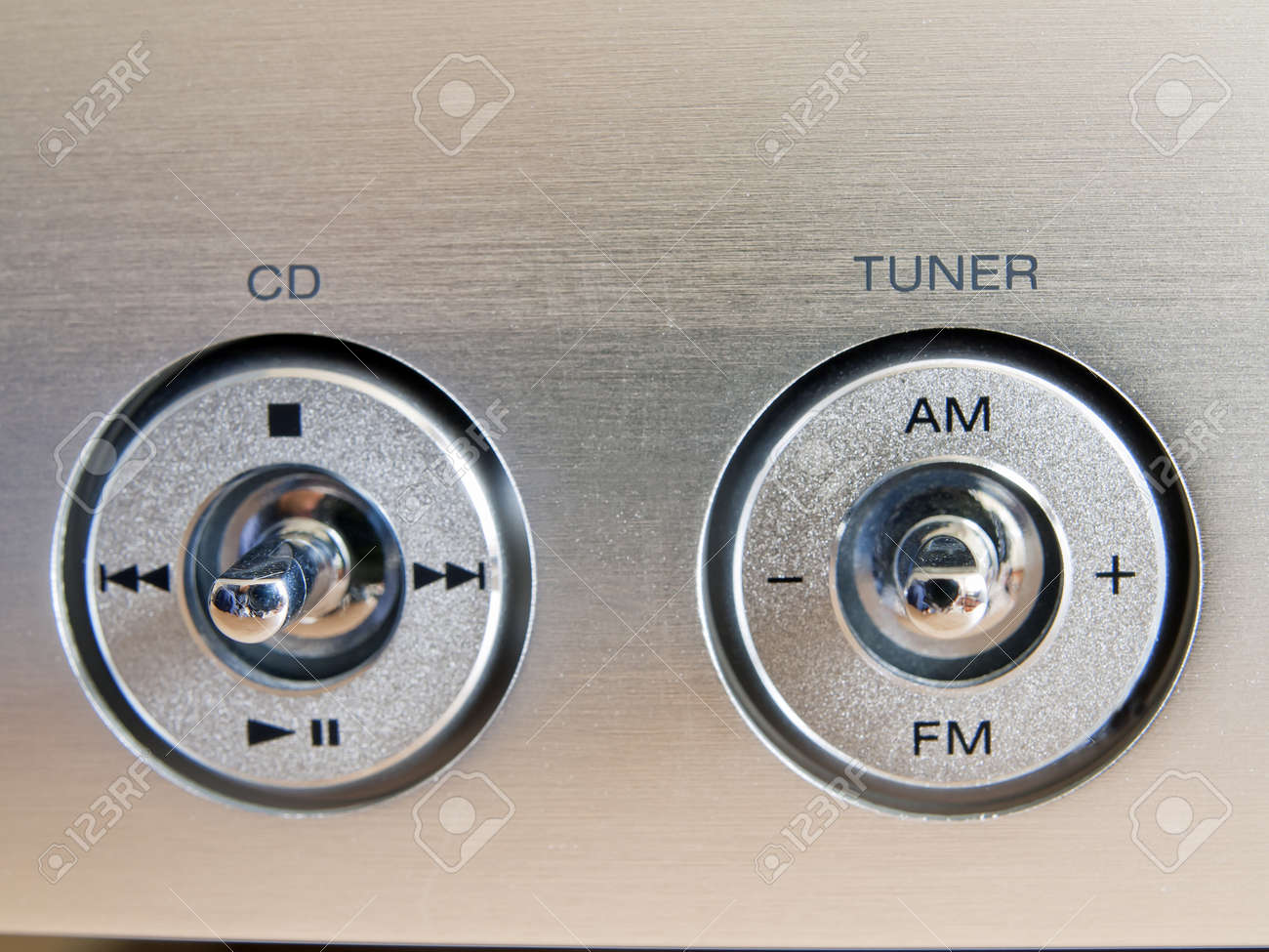 aluminum buttons radio and cd player Stock Photo - 16834888