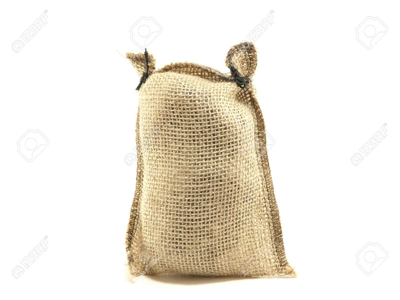 Hessian sack isolated against white background Stock Photo - 17336927